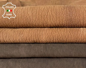 NUBUCK BROWN PACK 2 different shades rough grainy vegetable tan soft Italian goatskin goat leather pack 2 skins total 10qf 1.2mm #A8464
