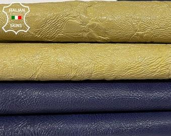 PATENT BLUE & BEIGE crispy shiny thick Italian lambskin lamb sheep leather pack 2 skins total 10sqf 1.2mm#A8351