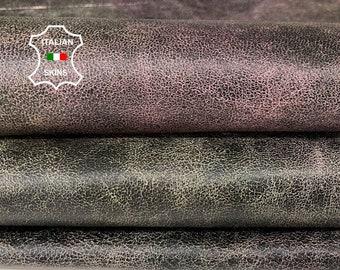 GREEN CRACKLED distressed with plum stonewash vintage look veg tan Italian Lambskin Lamb Sheep leather skin skins 7sqf 0.7mm #A7657
