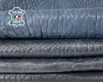DARK BLUE BUBBLY grainy vegetable tan thick Italian lambskin lamb sheep leather hide hides pack 4 skins total of 16sqf 2.0mm #A8149