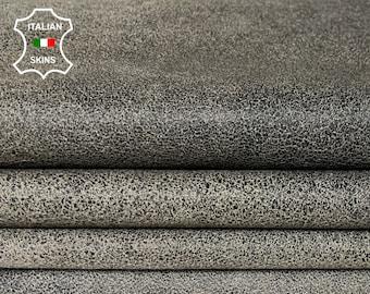 BLACK CRACKLED on BEIGE crackle stonewash vintage look Italian Lambskin Lamb sheep leather 2 skins hides total 14sqf 0.7mm #A7886