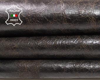 CRINKLE DARK BROWN crinkled vintage look Italian Lambskin Lamb Sheep leather skin hide skins hides 3sqf 0.6mm #A4379