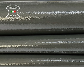 PATENT PETROL GREY dark taupe shiny wet look Italian calfskin calf cow leather hide hides skin pack 3 skins total 9sqf 0.8mm #A8245