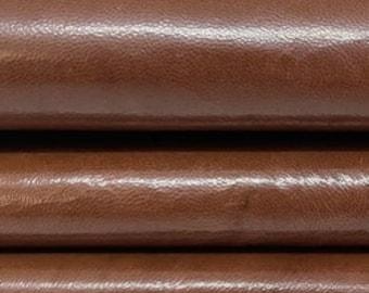 PATENT OAK BROWN shiny distressed natural look Italian lambskin lamb sheep leather hide hides skin skins 6sqf 0.8mm #A8360