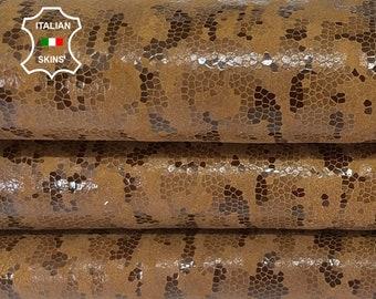 BROWN PRINT SHINY vegetable tan Italian goatskin goat leather skin skins hide hides 5+sqf 1.0mm #A8064