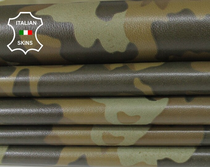 OLIVE CAMO green camouflage army soft Italian Lambskin Lamb Sheep leather skin hide skins hides 7-9sqf 0.7mm #A6380