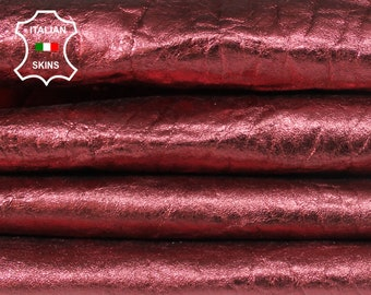 WASHED METALLIC WINE bordeaux on thick grainy textured vegetable tan Italian Lambskin Lamb Sheep Leather 2 skins total 9sqf 1.3mm #A7189