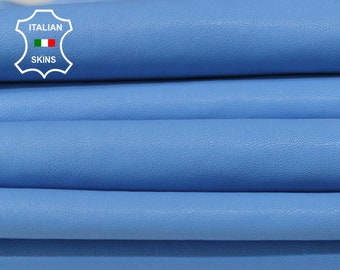WASHED AZURE BLUE vegetable tan Italian genuine Lambskin Lamb Sheep wholesale leather skins material for sewing high quality 0.5mm to 1.2mm