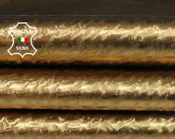METALLIC OLD GOLD textured brass strong Italian Goatskin Goat leather material for sewing skin skins 5-6sqf 0.5mm #A6361