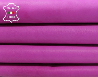 4 skins UNFINISHED HOT PINK fuchsia vintage look Italian genuine Lambskin leather skins hides total 34sqf 1mm #A4272
