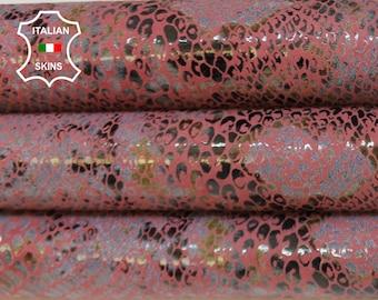 WINE PYTHON SNAKE print and grey textured Italian Goatskin Goat leather hide hides skin skins 7-9sqf 0.8mm #A6887