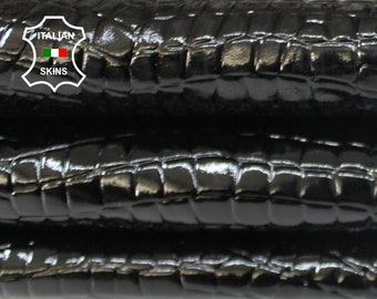 PATENT BLACK CROCODILE Embossed strong textured shiny Italian Goatskin Goat leather skin skins 3-4sqf 0.7mm #A6925