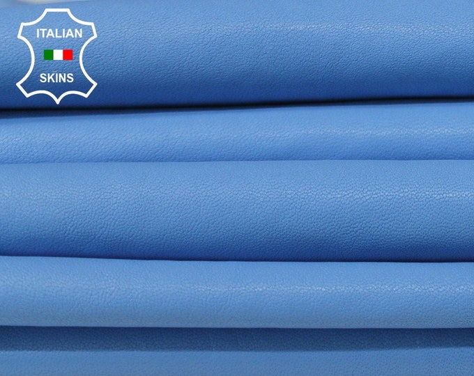 AZURE BLUE WASHED vegetable tan Italian Goatskin Goat leather skins hides total 12sqf 1.0mm #A6440