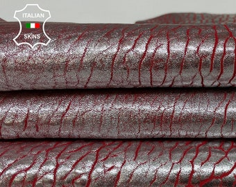 BUBBLY METALLIC SILVER distressed on Red washed grainy textured vintage thick Lambskin Lamb Sheep leather skin 5sqf 2.0mm #A7537