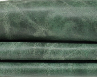 VINTAGE GREEN antiqued Italian Lambskin Lamb Sheep leather material for sewing 2 skins hides total 15sqf 0.7mm