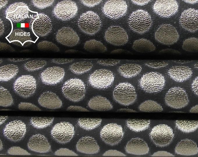 METALLIC PEWTER POLKA Dots circles Italian Lambskin Lamb Sheep genuine leather skins hides skin hide 3sqf 1.0mm #A4644