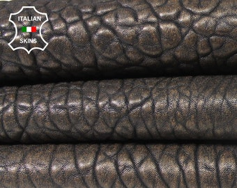 BLACK PEARLIZED BRONZE thick Grainy Bubbles bubbly vegetable tanned Italian Lambskin Lamb sheep leather skin hide skins 6sqf 1.8mm #A5598