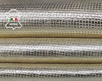WOVEN Metallic gold distressed on Beige Italian Lambskin Lamb Sheep leather 7 skins hides total 45sqf 0.8mm #A7090