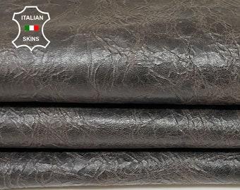 DARK BROWN SHINY antiqued vintage look vegetable tan Italian goatskin goat leather skin skins hide hides 5sqf 0.9mm #A8446