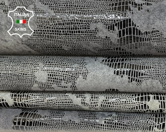 GRAY TEJUS REPTILE  print distressed on olive green antiqued shiny soft Lambskin Lamb Sheep leather pack 2 skins total 13sqf 1.0mm #A8516