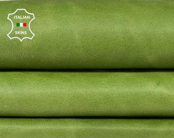 GREEN VINTAGE LOOK vegetable tan Italian Lambskin Lamb Sheep leather skin skins hide hides 8sqf 0.9mm #A8491