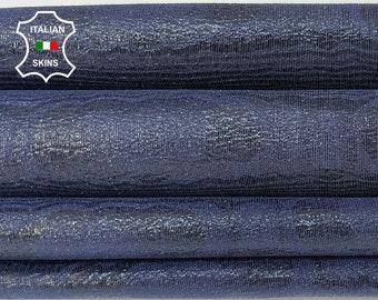 BLUE TEXTURED SHINY soft Italian Goatskin goat leather pack 2 skins total 6sqf 0.8mm #A8523
