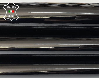 BLACK PATENT SHINY wet look strong Italian calfskin calf cow leather hide hides skin pack 2 skins total 8sqf 1.0mm #A8220