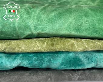 GREEN CRINKLE WRINKLE antiqued rustic vegetable tan vintage look Italian goatskin goat leather pack 4 skins total 20sqf #A8171