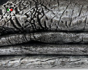 METALLIC SILVER BUBBLY antiqued Italian thick lambskin sheep leather skin skins hide hides total 2 skins 5sqf 1.8mm #A8026