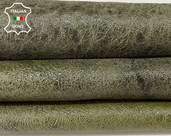 PATENT OLIVE GREEN shiny crinkle distressed antiqued vintage look Italian lambskin lamb sheep leather skin skins hide 6+sqf 1.1mm#A8353