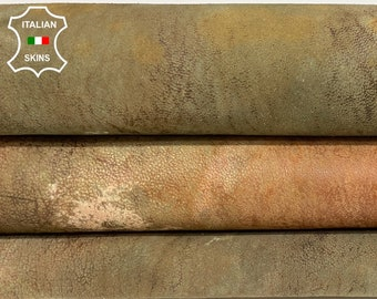 AUTUMN COLORS NUBUCK distressed vintage look vegetable tan Italian lambskin lamb sheep leather skin skins hide hides 7sqf 0.8mm #A8426