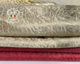 PACK 2 SKINS VINTAGE Red & Gold vegetable tanned Italian Lambskin Lamb sheep leather 2 hides total 8sqf 1.4mm #A7696