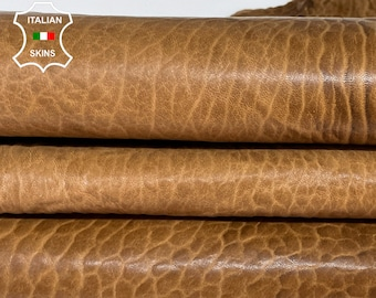 BROWN ANTIQUED BUBBLY rustic distressed grainy thick vegetable tan Italian Lambskin Lamb sheep leather skin hide 6sqf 1.2mm #A7683