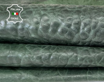 BOTTLE GREEN BUBBLY grainy antiqued vegetable tan thick Italian lambskin lamb sheep leather pack 4 skins total 20sqf 1.8mm #A8155