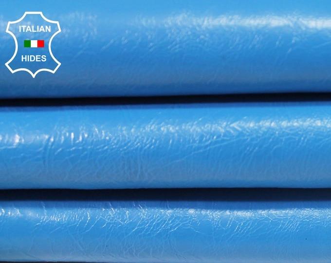 CRINKLE PATENT Electric BLUE Italian Lambskin Lamb Sheep leather skin hide skins hides 5-8sqf 1.0mm #A4192