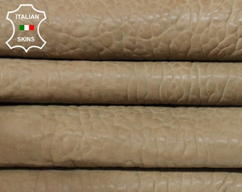 SAND BROWN antiqued bubbly grainy textured washed thick vegetable tan Italian Lambskin Lamb Sheep Leather 2 skins total 10sqf 1.5mm #A7232