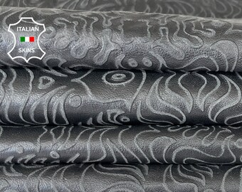 BLACK TEXTURED VINTAGE  look  Italian lambskin Lamb sheep leather skin skins hide hides  7sqf 0.7mm #A8124