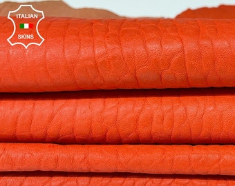 BUBBLY GRAINY ORANGE coral vegetable tan thick Italian lambskin lamb sheep leather skins hide hides 2 skins total  8sqf 1.0mm #A8308