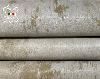 GREY DISTRESSED On khaki vintage look soft Italian Lambskin Lamb Sheep leather skin skins hide hides 5sqf 1.0mm #A8503