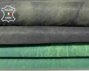 GREEN RUSTIC ANTIQUED vintage look vegetable tan Italian goatskin goat leather hide hides skin pack 2 skins total 12sqf 1.0mm #A8179