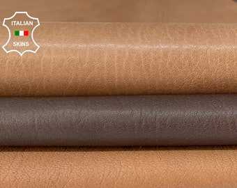 BROWN PACK 3 SKINS different shades rough grainy vegetable tan Italian goatskin goat leather pack 3 skins total 17sqf 1.2mm #A8459