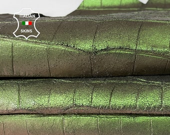 PEARLIZED GREEN CROCODILE crackled double sided textured antiqued strong Italian Calfskin Calf leather skin skins 7sqf 0.7mm #A7627