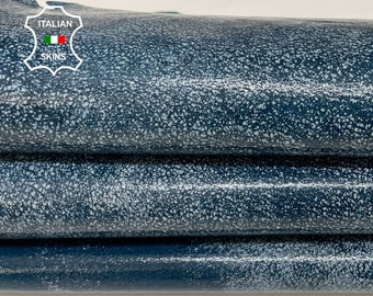 BLUE DISTRESSED PATENT shiny stonewash vintage look Italian Lambskin Lamb Sheep leather skin hide 7sqf 1.2mm #A7753
