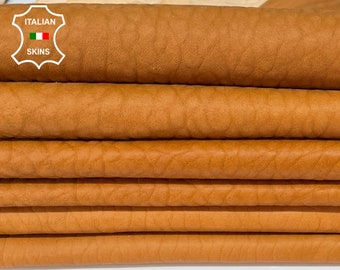 BUBBLY SADDLE TAN natural saddleTan vegetable tanned thick soft Italian Lambskin Lamb Sheep leather 2 skins total 12sqf 1.3mm #A7531