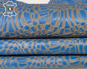 BLUE TEXTURED embossed on BEIGE vintage look Italian Lambskin Lamb Sheep leather skin hide skins hides 7sqf 0.8mm #A7527