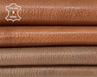 BROWN PACK 2 DIFFERENT shades rough grainy  vegetable tan thick Italian goatskin goat leather pack 2 skins total 12sqf 1.2mm #A8453