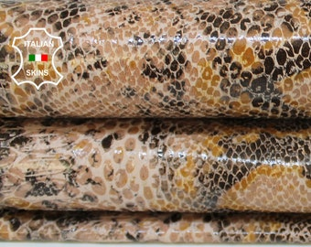 NUDE PYTHON snake print textured strong Italian Goatskin Goat leather hide hides skin skins 6-8sqf 0.9mm #A6868