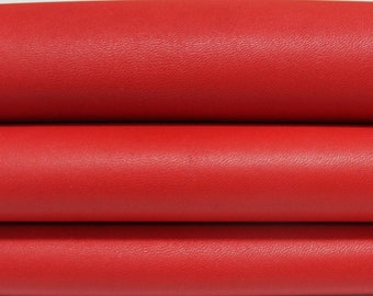 CHILLY RED Italian genuine Lambskin Lamb Sheep leather skins hides 0.5mm to 1.2mm