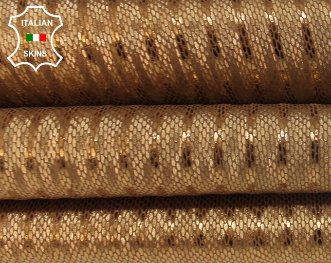 METALLIC BRONZE SNAKE old gold reptile print textured Goatskin Goat leather material for crafts skin skins hides 2-3sqf 0.8mm #A6327