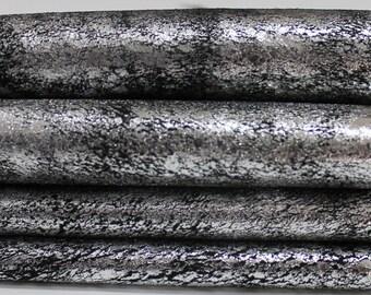 METALLIC SILVER ANTIQUED Distressed on black Italian genuine Lambskin Lamb Sheep leather skin hide skins hides 7sqf